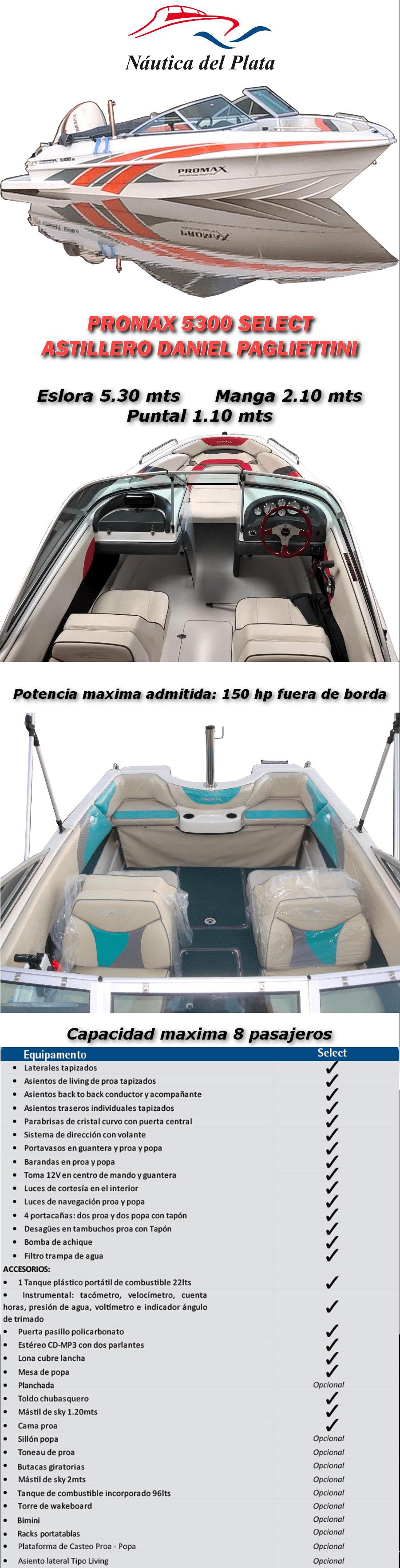 lancha pagliettini promax 5300 directo astillero